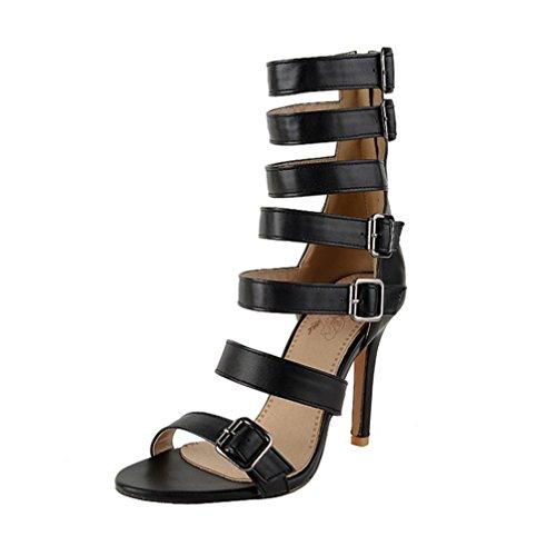 Sandalias De Tacón Delgado Sandalias De Tacón De Aguja De Las Mujeres Del Verano Peep Toe Pumps Hebilla Gladiator Party Dress Plus Size Shoes Black