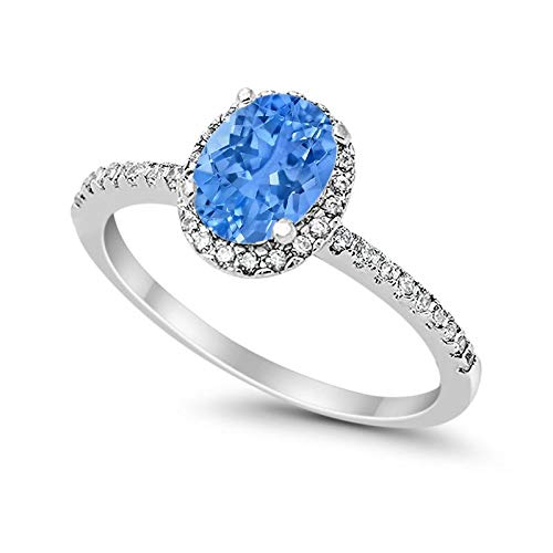 Blue Apple Co. Halo Fashion Ring Oval Simulated Topaz Round CZ Accent 925 Sterling Silver, Size-8 ()