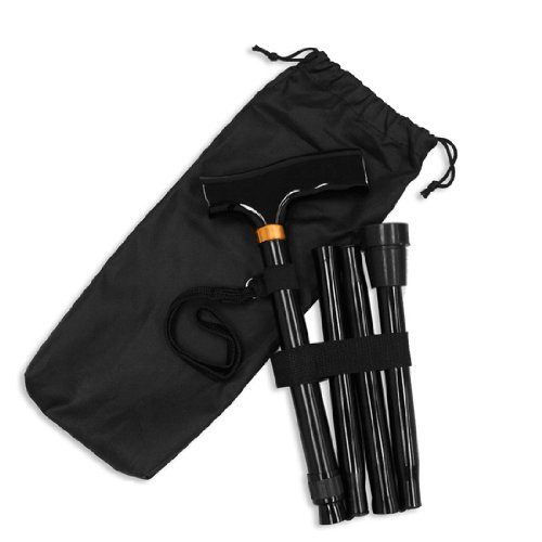 Ez2care Adjustable Folding Cane with Carrying Case, Black, Health Care Stuffs