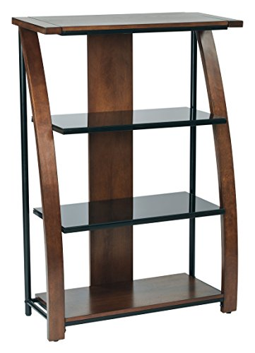 OSP Designs Office Star Emette Bookcase With Two Black Tempered Glass Shelves, Black Powder Coated Frame, and Cherry Finish Wood Accents -
