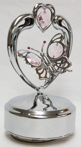 Chrome Butterfly in Heart Music Box - Pink Swarovski Crystal ()