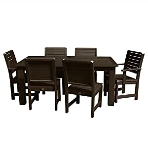 Highwood AD-ST7WL1CO5AA-ACE Weatherly Outdoor Dining Set, Height, Weathered Acorn