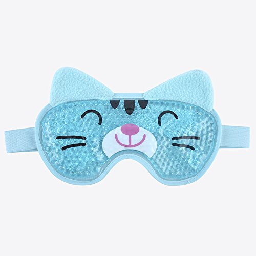 Hot Cold Face Eye Mask for Hot or Cold Therapy, Microwave Travel Sleep Eye Mask with Gel Beads, Cute Soft Ice Compress Eye Pad with Straps for Soothing Puffy Eyes, Swollen Eyes, Dark Circles, Stress by NEWGO (Image #1)
