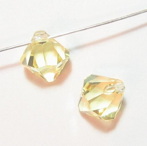 6 pcs Swarovski Crystal 6301 Top Drilled Bicone Pendant Bead Jonquil 8mm / Findings / Crystallized Element