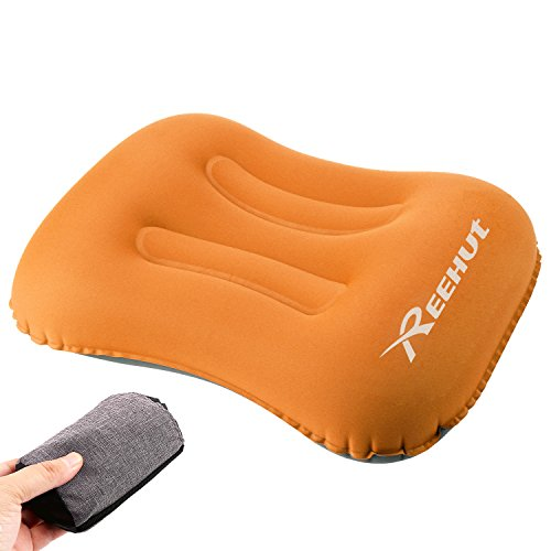 REEHUT Inflatable Camping Pillow, 80 Gram, Soft Fabric, Ergonomic Design, with Storage Bag Portable for Backpacking, Hiking, Camping, Traveling(Orange) (Inflatable Pillow)