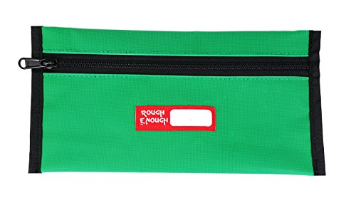 RE ROUGH ENOUGH Rough Enough Durable Tarpaulin Simple Flat Pencil Case Keeper Pouch Bag Organizer Storage Holder with Zipper for School Art Supplies Stationary Kit for Kids Boys Students (Flat Keepers)