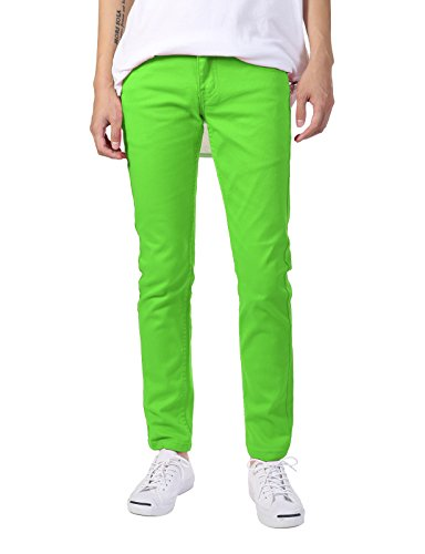 JD Apparel Men's Skinny Fit Jeans Neon Green 34x30