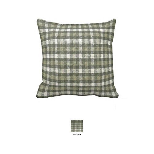 Patch Magic forest Checks with Ecru Fabric Toss Pillow, 16 by 16-Inch, Green