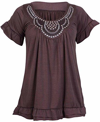 PurpleHanger Women's Short Sleeve Scoop Neck Stud Top Plus Size Mocha 12-14