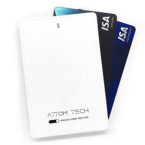 Attom Tech 2500mAh Power Bank Mini,Back-up Phone Battery Pack Ultra Slim,Pocket Size Thin External Phone Battery Pack Emergency Phone Power Built-in Charging Cable Android Micro USB Apple(WHT)