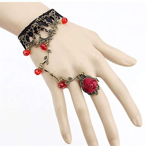 Beiswe Vintage Black Lace Bracelet Handmade Vampire Slave Shape Rhinestone Roseflower Pendant for Women Girls Charm Jewelry