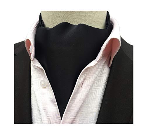 Men's Solid Black Color Self Cravat Tie Formal Silk Evening Dress Ascot Gift for Guys