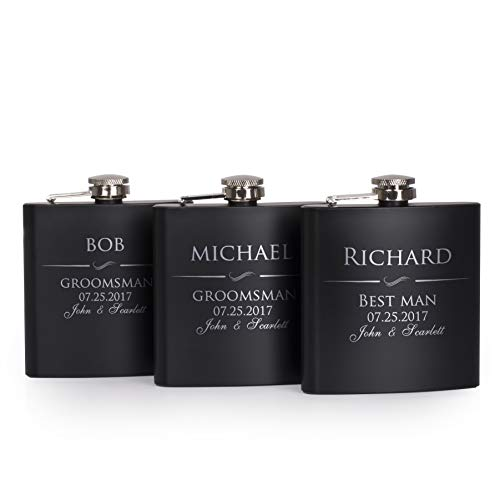 P Lab Set of 3 - Groomsmen Gift - Groomsman Gifts For Wedding, Wedding Favor Customized Flask Set w Optional Gift Box - Engraved 6oz Stainless Steel Flask Custom Personalized Flask Gift Set, Black #1