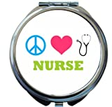 Rikki Knight Peace Love Nurse Design Round Compact Mirror