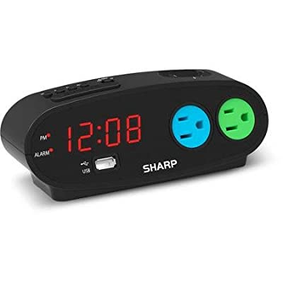 Sharp Alarm with snooze, USB and 2 power Outlets, Black from Sharp