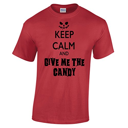 Keep Calm and Carry On Give Me The Candy Halloween Costume Scary Funny Mens T-Shirt (Funny College Halloween Costume Ideas Men)