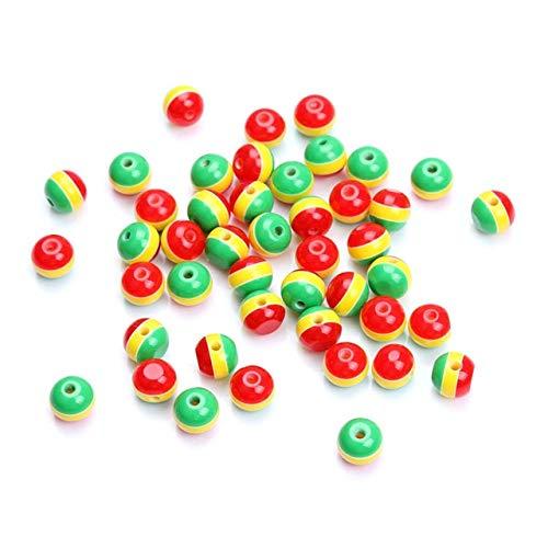 (Calvas 100pcs/lot 10mm DIY Charm Jamaica Reggae Rasta Three Colors red Yellow Green Resin Zebra Stripe Spacer Loose Bead - (Color: 10mm Beads))
