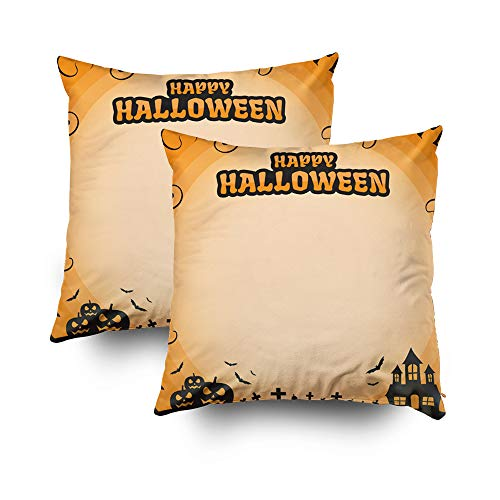 ROOLAYS Decorative Throw Square Pillow Case Cover 18X18Inch,Cotton Cushion Covers Halloween Happy Halloween Blank Frame Both Sides Printing Invisible Zipper Home Sofa Decor Sets 2 PCS -