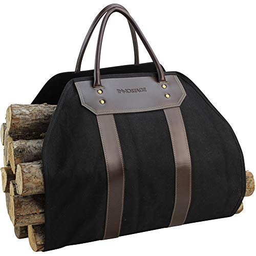 INNO STAGE Canvas Log Carrier Bag, Waxed Durable Wood Tote, Fireplace Stove Accessories, Extra Large Firewood Holder with Handles for Camping, Hay Carrier Tote(Black) ()