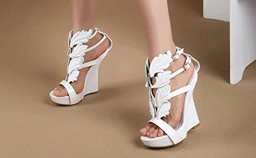 Compensées mode Blanc Sexy feuille coin haut Wing de femmes Chaussures talon la chaussures d'été plat Blanc or Sandales Noir marque de flamme de de Pompes t040qfrn