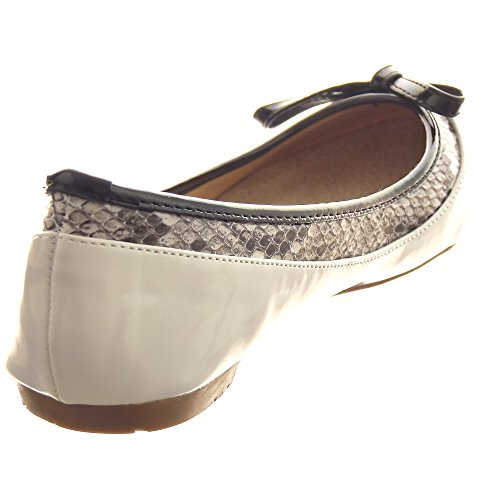 Sopily - damen Mode Schuhe Ballerina Dekollete fliege metallisch - Weiß