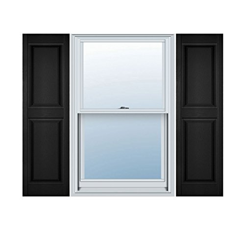 Ekena Millwork LP2S14X05100BL Lifetime Vinyl Standard Two Equal Raised Panel Shutters, 14 3/4