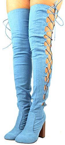 - Cambridge Select Women's Thigh-High Side Corset Lace-Up Block Heel Over The Knee Boot,6.5 B(M) US,Light Blue Denim
