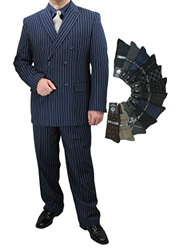 - Sharp Luxurious 2pc Men's Double Breasted Pinstripe Suit w/1 Pair of Socks - Blue 52L