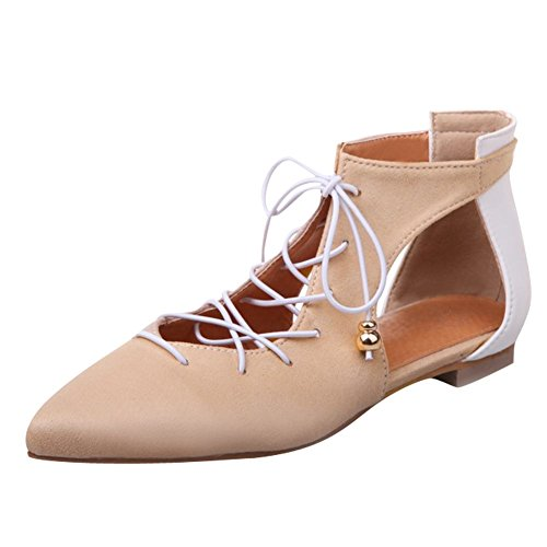 Mee Shoes Women's Chic Pointed Toe Lace up Flat Court Shoes Beige I7PRT3IKnb