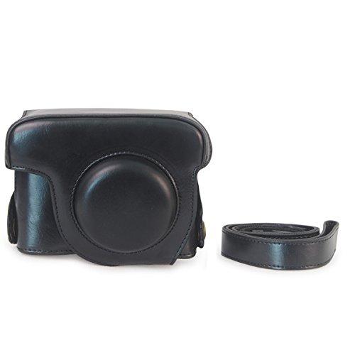 Venstone Protective Leather Camera Case for Canon PowerShot G15 Camera case Leather Camera Case With Shoulder Strap Shoulder Camera Bag For Cano PowerShot G15 (Black)
