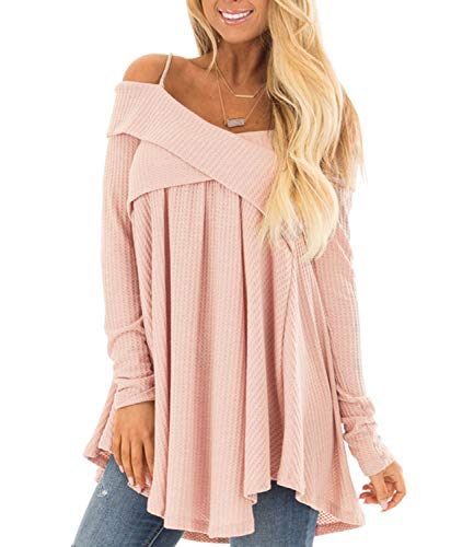 Off Shoulder Long Sleeve Spaghetti Strap Halter Tops Sweater Blouse ()