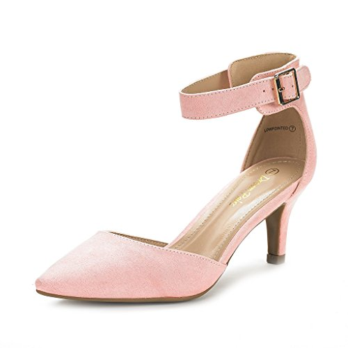 (DREAM PAIRS Women's Lowpointed Pink Suede Low Heel Dress Pump Shoes - 8.5 M US)
