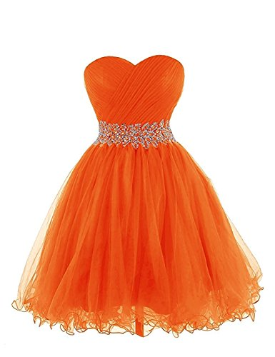 Asbridal Femmes Tulle Robes De Demoiselle D'honneur Courte Chérie Perlage Orange Bal Retour À La Maison