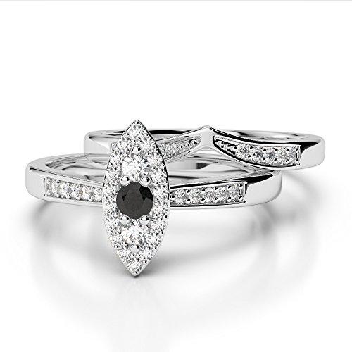 Or blanc 18carats 0,10ct G-H/VS sertie de diamants ronds Coupe Noir de mariage Bague de fiançailles et ensemble de Agdr-1050