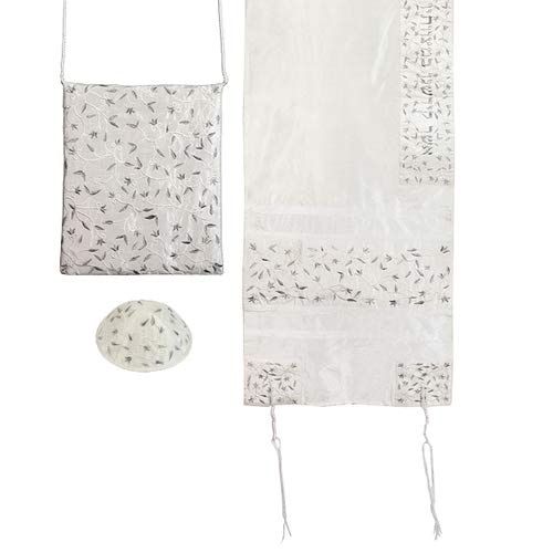 - Yair Emanuel Women's Tallit Set -Embroidered flowers in silver