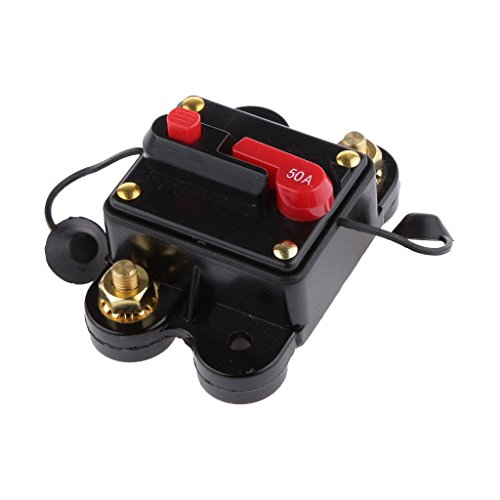 12V-24V DC Circuit Breaker Trolling Motor Auto Car Marine Boat Bike Stereo Audio Inline Fuse Inverter Waterproof with Manual Reset 50A 50Amp