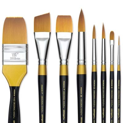 KINGART Original Gold Flat Glaze 9550-1/2, Premium Artist Brush, Golden TAKLON WASH-Size: 1/2, Black