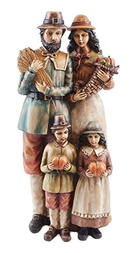 Caffco Pilgrim Family Thanksgiving Harvest Figurine ()