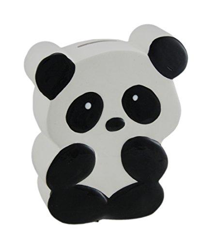 Zeckos Whimsical Black and White Ceramic Panda Bear Kids Money Bank