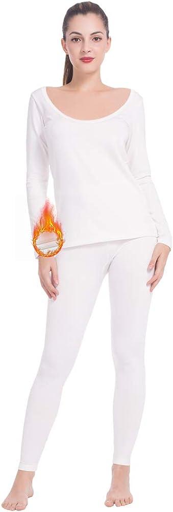 MANCYFIT Womens Thermal Underwear Long Johns Set Fleece Lined Ultra Soft Ballet Neck Base Layer White XX-Large