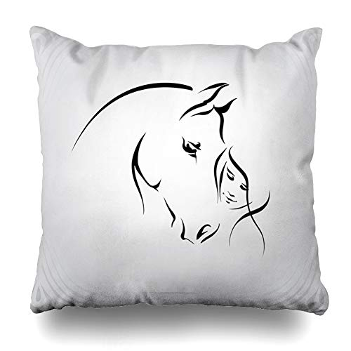 (Ahawoso Throw Pillow Cover Square 20x20 Girl Head Horse Rider Graceful Dressage Outline Love Mare Zippered Cushion Pillow Case Home Decor)