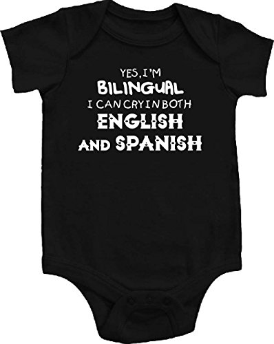 Im Bilingual I Can Cry English Spanish Funny Baby Onepiece Bodysuit Gift Black (12-18 months (Large))