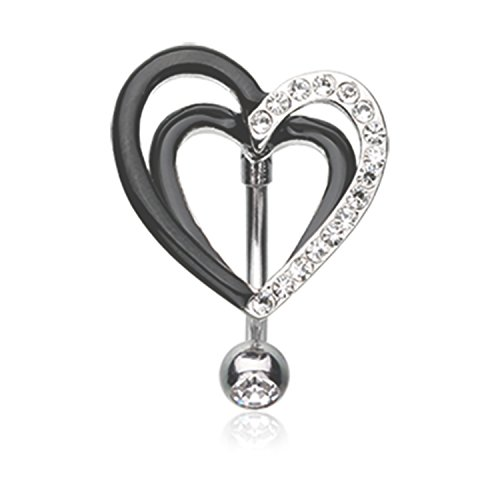 Little Aiden Sparkle Layered Black and White Heart Reverse Navel Belly Button Ring Size 14GA 3/8