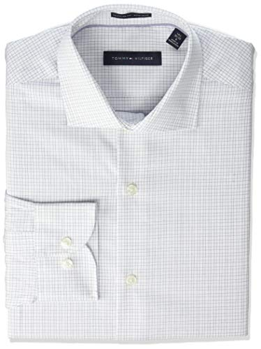 (Tommy Hilfiger Men's Non Iron Regular Fit Check Spread Collar Dress Shirt, Delft Blue, 15.5