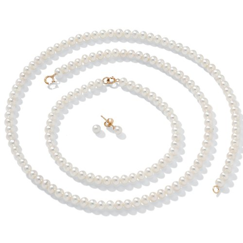 Palm Freshwater Necklace - White Cultured Freshwater Pearl 14k Yellow Gold Necklace, Bracelet and Earrings 3-Piece Set 18
