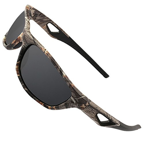MOTELAN Polarized Outdoor Sports Sunglasses Tr90 Camo Frame for Men Women Driving Fishing Hunting Reduce Glare (Black Grey ()