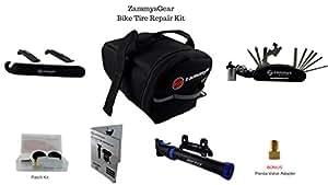 ZammysGear Bicycle Flat Tire Repair Kit Bundle with Accessories, Black