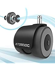 Office Chair Caster Wheels by ATOMDOC, Newly Revolutionary Quadruple Ball Bearing Design,Heavy Duty & Safe Protection for All Floors Including Hardwood, Set of 5