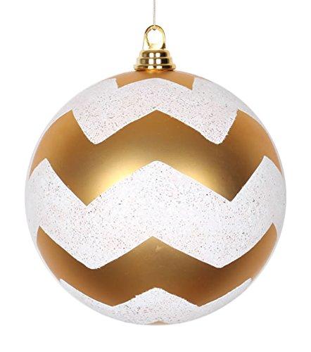 Vickerman Gold Matte with White Glitter Chevron Commercial Size Christmas Ball Ornament, 8'' by Vickerman