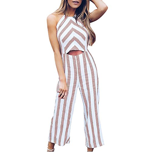 Price comparison product image Hengshikeji Clearance Womens Casual Striped Romper Jumpsuit Wide Leg Pants Sleeveless Playsuit Teen Girls for Summer (XL,  Khaki)